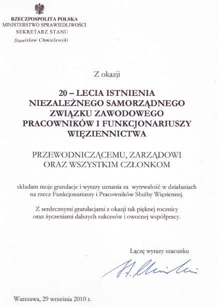 Archiwum 20102009 Nszz Funkcjonariuszy I Pracowników Więziennictwa